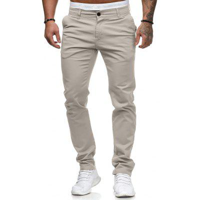Lato Men Casual Spodnie Spodnie Slim Solid Color