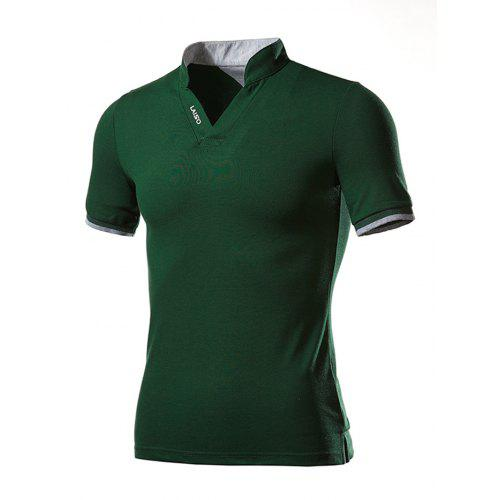 SELX Men Embroidery Short Sleeve Slim Fit Business Lapel Polo Shirt