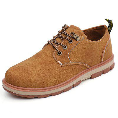 Men Shoes Solid Color Round Toe Thick Sole Casual Footwear
