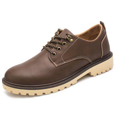 Men Driving Shoes Round Toe Thick Sole Lace-Up Casual Footwear