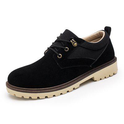 Men Shoes Retro Style Round Toe Thick Sole Lace-Up Casual Footwear