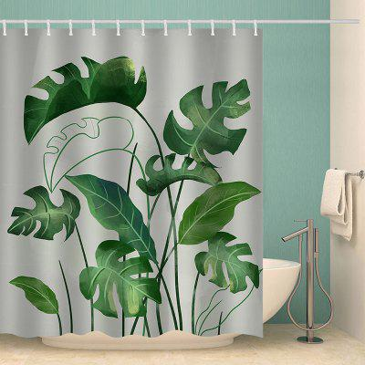 Grote Green Leaf Pattern Waterproof Shower Curtain Home Decoration