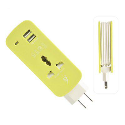 US Plug Extension Cord Socket Outlet Portable Travel Power Strip Surge Protector 2 USB Smart Wall Charger