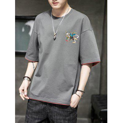 Men Summer Fashion Solid Color Chinese Characters and Cartoon Printing Round Neck Short-sleeved T-shirt