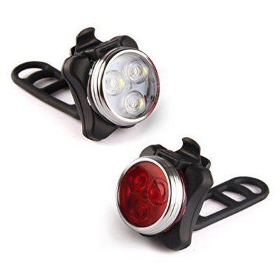 USB Charging Bike Light Set Super Bright Front Headlight and Rear LED Bicycle Lamp