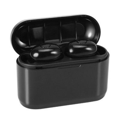 DT-4 TWS Wireless Bluetooth Earbud Headset Earphones Headphone with Charging Compartment