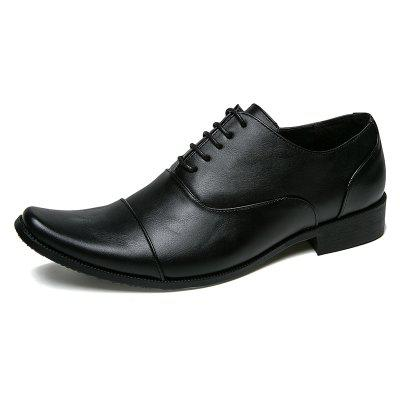 AILADUN Men Formal Shoes Retro Style Solid Color Pointed Toe Lace-up Business Footwear