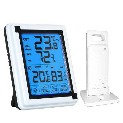 LCD Touch Screen Desk Clock Digital Wireless Indoor Outdoor Thermometer Accurate Temperature Humidity Monitor with Touchscreen and Backlight