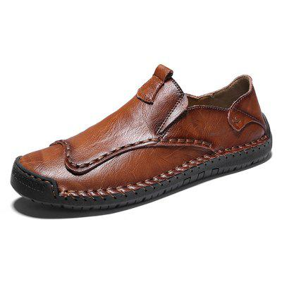 IZZUMI Men Shoes Hand-stitched Casual Leather Large Size