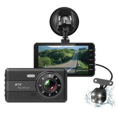 T682 Driving Recorder 4-inch IPS HD 1080P Car Front and Rear Dual Lens Support Reversing Image Image