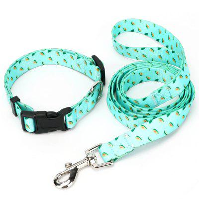 Small Fresh Avocado Pattern Thermal Transfer Polyester Collar Traction Rope Pet Supplies