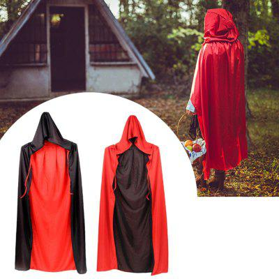 Halloween Party Dress Cloak Red And Black Collar Hooded for Adult Children
