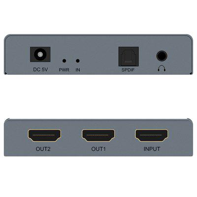 4K HDMI One Input Two Output + Audio Splitter Extractor Converter