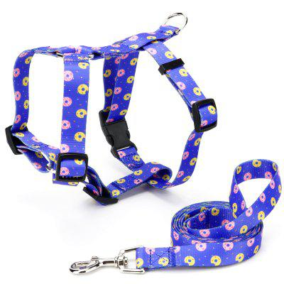 Donut Pattern Thermal Transfer Polyester Buckle I-shaped Collar Traction Rope Pet Supplies