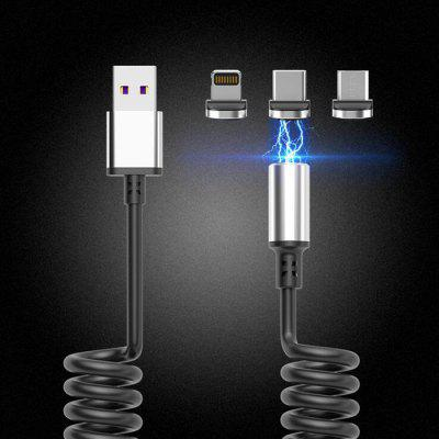 New Spring Magnetic Data Cable Three-in-one Car for Apple Android Type-c Mobile Phone Charging