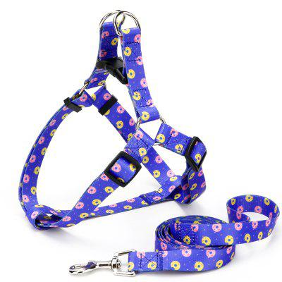 Donut Pattern Thermal Transfer Polyester Plastic Buckle Triangle Collar Traction Rope Pet Supplies
