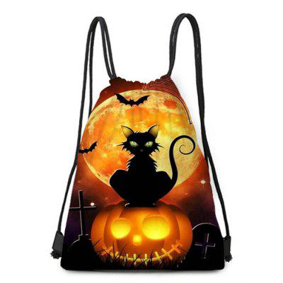 Halloween Element Bat Pumpkin Black Cat Pattern Bundle Pocket Storage Backpack