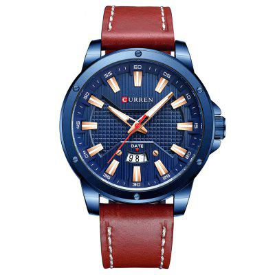 CURREN 8376 Simple Round Waterproof Men Quartz Watch Leather Band Calendar Fashion Wristwatch