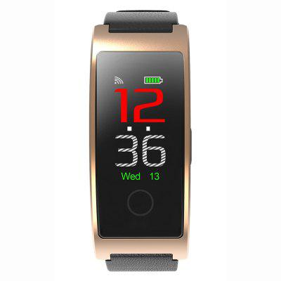 CK11C Smart Bracelet Real-time Body Temperature Color Screen Blood Pressure Heart Rate Oxygen Leather Strap Bluetooth Waterproof Wristband