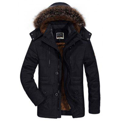Long Section Men Cotton Coat Plus Velvet Thick Hooded Parka Jaket