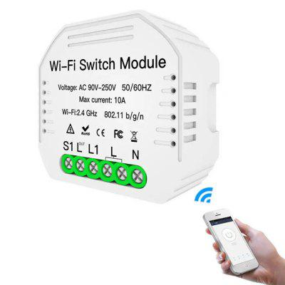 MoesHouse MS-104 AC90-250V Two Way WiFi Smart Light Switch DIY Breaker Module Life / Tuya APP Remote Control Work with Alexa Google Home Din Rail Mounting