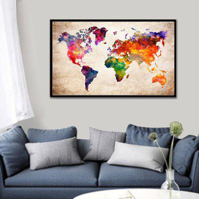 Simple Diamond Print Living Room Bedroom Decoration Art Color World Map 50 x 30cm