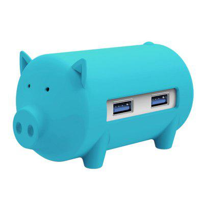 ORICO H4018-U3-BL 3-port USB3.0 Piggy Hub Converter TF / SD Card Slot Reader Support OTG Function Cute and Compact Appearance Multi-port Expansion
