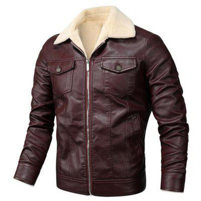 Autumn and Winter Plus Thick Velvet Leather Jacket Male Coat