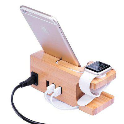 YM-WD05-C Creative Bamboo Mobile Phone Smart Watch Charging Holder Multi-function Charger Stand USB Smartphone Base
