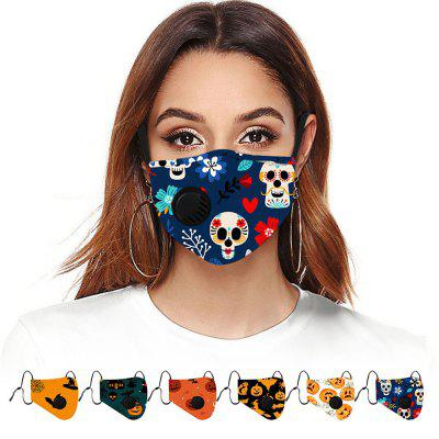 4 Ply Face Mask Fashion Personalized Printing Respirator Valve Breathable Anti Dust Fog Haze 6pc