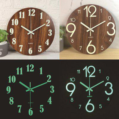 Wooden Planks Wall Clock Luminous Fluorescent Emission Mute Watch Home Bedroom