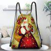 Christmas Theme Santa Polyester Material Drawstring Bag Holiday Decoration Storage Pack for Candy and Gift - MULTI