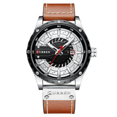 CURREN 8374 Men Waterproof Calendar Quartz Watch Simple Business Leather Band Wristwatch