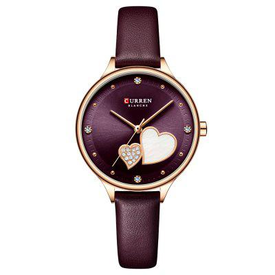 CURREN 9077 Lady Small Dial Simple Quartz Watch Waterproof Round Ultra-thin Female Bracelet Wristwatch