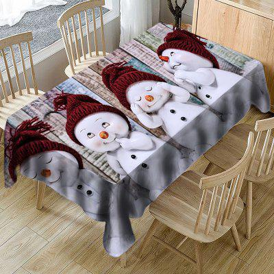 Christmas Decoration Cartoon Cute Snowman Funny Printing Rectangular Tablecloth Living Room Table Mat christmas snowfield snowman print waterproof shower curtain