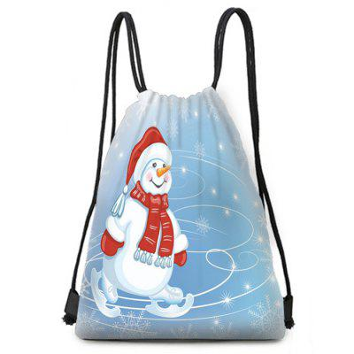 Christmas Decoration Ski Snowman Digital Printing Polyester Material Drawstring Pouch Bag Holiday Storage Pack for Candy and Gift