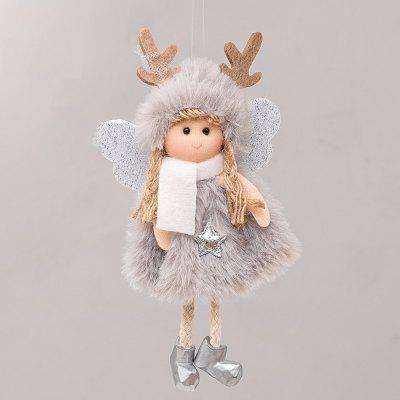 Christmas Decoration Tree Pendant Cute Antlers Plush Feather Angel Doll