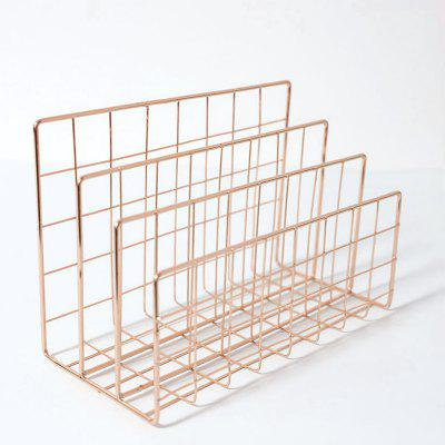 Iron Metal Three Grids Bookshelf Creative Book Stand Table Decoration File Books Desk Organizer