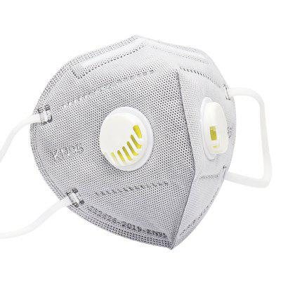 6 Ply KN95 Face Mask with Double Breathing Valve Anti-fog Respirator 50PCS