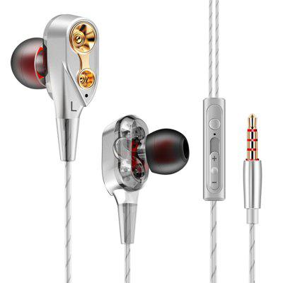 QKZ CK8 Headphone Double Unit Drive 3.5mm In-Ear Earphones with built-in Microphone free shipping 5pcs 39a132a mb39a132a in stock