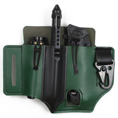 Outdoor Survival Tool Leather Waist Bag EDC Tactical Tools Holster Flashlight Sabre Case Storage Pack