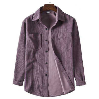 1811A-R7 Men Corduroy Solid Color Casual Long Sleeve Shirt