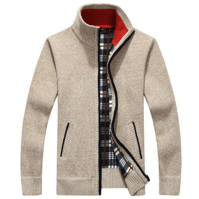 Mens Sweater Knitwear Stand-up Collar Loose Cardigan