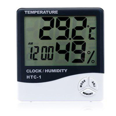 HTC-1 Indoor Room LCD Electronic Temperature Meter Creative Thermometer Alarm Clock