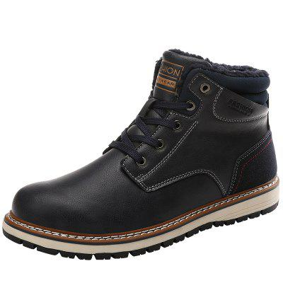 IZZUMI Men Boot Outdoor Short Plush Leather Shoes Hiking