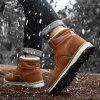 IZZUMI Men Boot Outdoor Short Plush Leather Shoes Hiking Shoes - LIGHT BROWN