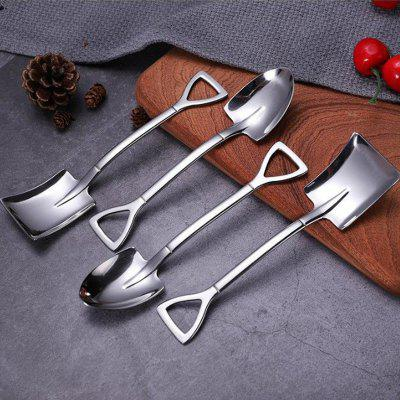 Stainless Steel Dessert Ice Cream Spoon Creative Coffee Retro Shovel 4PCS