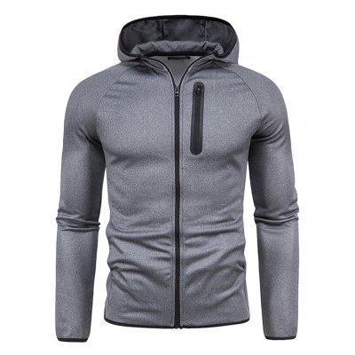 Men Zipper Decoration Pure Color Casual Long Sleeve Hooded Jacket