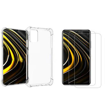 ASLING 3-in-1 Screen Protection Film High Quanlity Transparent TPU Phone Case for Xiaomi Mi Poco M3