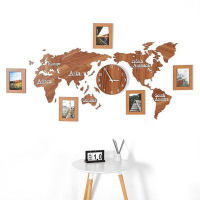 Simple World Map Wall Clock Living Room Decoration 3D Photo Frame Mirror Wooden 1.3M